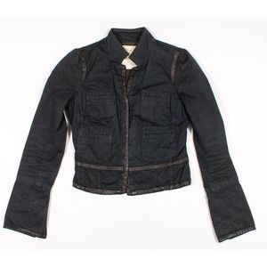 Free People Faux Leather Trimmed Cropped Jacket